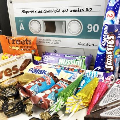 Coffret cadeau - Boîte en métal cassette - Chocolats des années 80