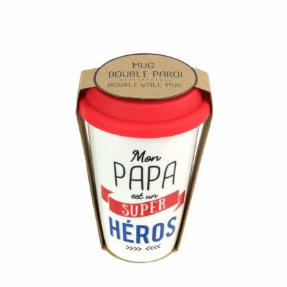 "Mug de transport ""Papa est un super héros"" - Cadeau papa"