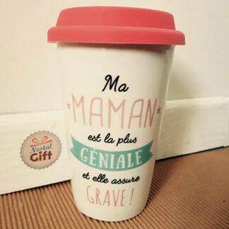 """Mug de transport """"Maman est géniale"""" - Cadeau maman"""