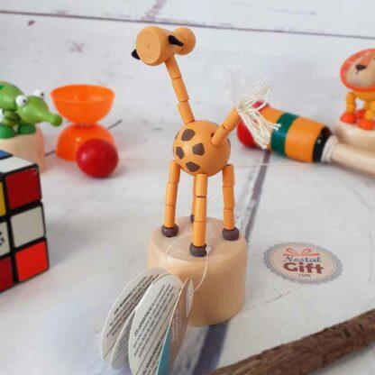 Figurines animaux articulées poussoir en bois - Eléphant, lion, zèbre, renard, girafe et crocodile
