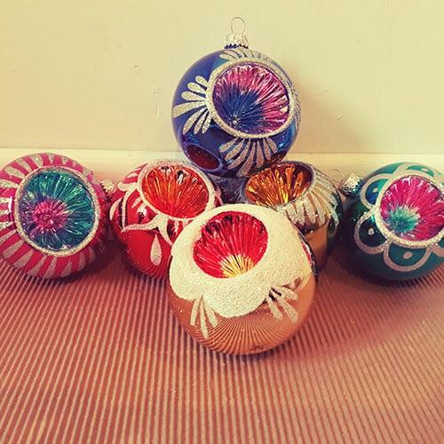 Lot de 6 boules de no l r tro 8 cm nostalgift retombez en enfance tous les mois - Boule de noel vintage ...