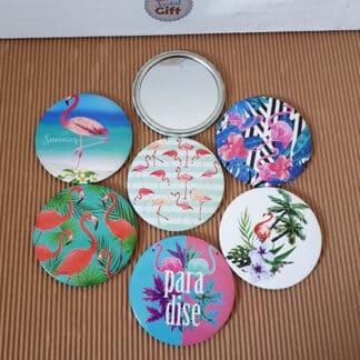 Miroir de poche vintage - Flamant rose