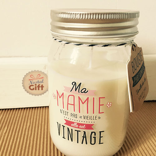 bougie jar ma mamie est vintage cadeau grand m re. Black Bedroom Furniture Sets. Home Design Ideas