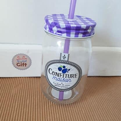 Mason Jar avec paille - Design pot de confiture vintage