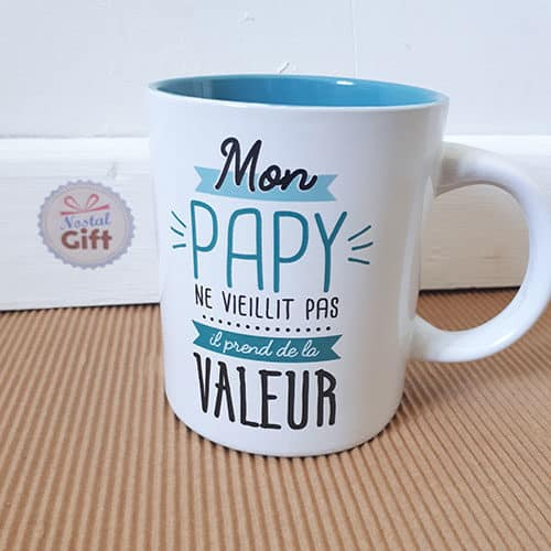 mug mon papy prend de la valeur cadeau grand p re. Black Bedroom Furniture Sets. Home Design Ideas