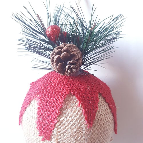 D coration de no l en jute suspendre boule de no l - Decoration boule de noel ...