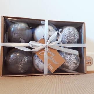 Lot de 6 Boules de Noël - Motif de Cerfs gris et blancs