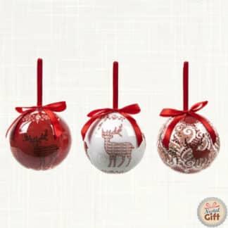 Lot de 6 Boules de Noël - Motif de Cerfs rouge et blanc