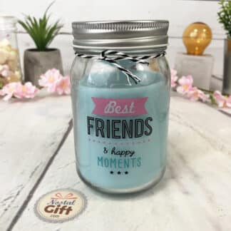 """Bougie jar """"Best FRIENDS & Happy moments"""" Parfum mûre sauvage - Cadeau pour ami"""