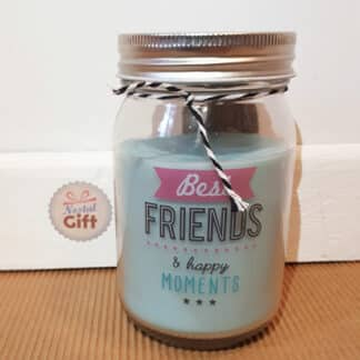 "Bougie jar ""Best FRIENDS & Happy moments"" Parfum mûre sauvage - Cadeau pour ami"