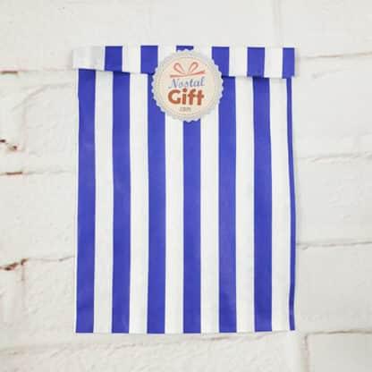 Sachet de bonbon rétro à rayures bleues et blanches