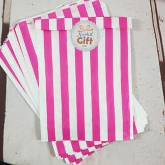 Sachet de bonbon rétro à rayures roses et blanches