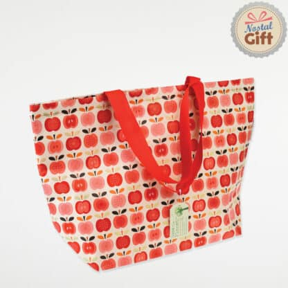 Grand sac shopping au motif Pomme vintage