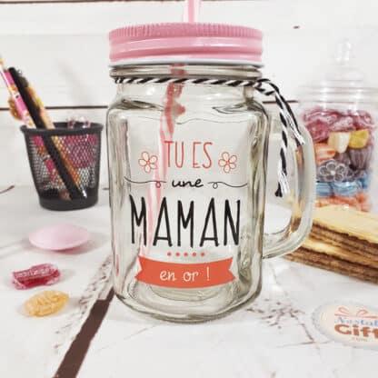"Mason jar avec paille ""Maman en or"" - Cadeau Maman"