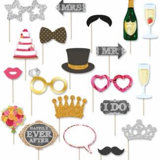Photobooth accessoires de mariage 20 pièces - Déguisement photo pour mariage, fiançailles...