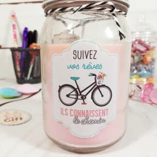 """Bougie jar """"Suivez vos rêves"""" - Idée cadeau"""