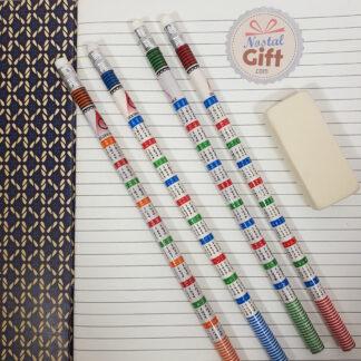 Crayon à papier avec table de multiplication
