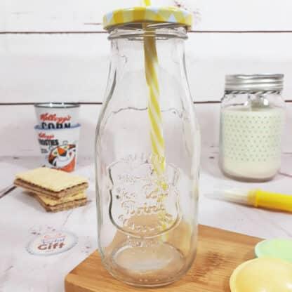 Mason Jar avec paille - Design bouteille de lait vintage