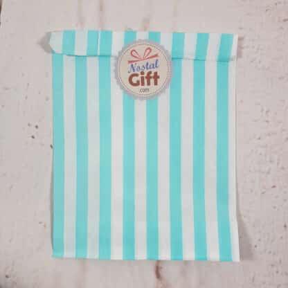 Sachet de bonbon rétro à rayures bleues claires et blanches