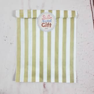 Sachet de bonbon rétro à rayures dorées et blanches x1