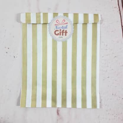 Sachet de bonbon rétro à rayures dorées et blanches
