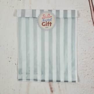 Sachet de bonbon rétro à rayures grises et blanches