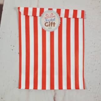 Sachet de bonbon rétro à rayures rouges et blanches x1