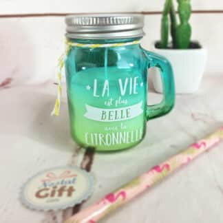 Bougie parfum citronnelle - Mini mason jar