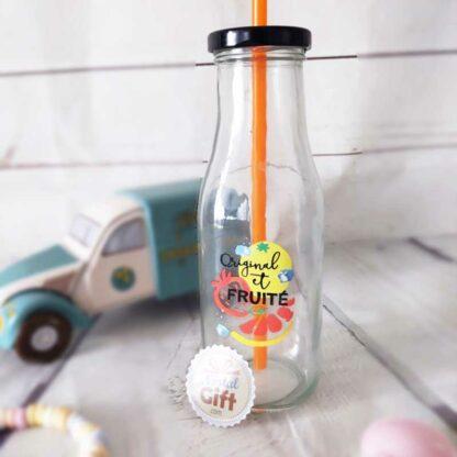 Mason Jar avec paille - Design bouteille de lait été