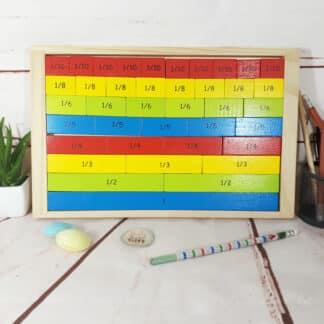 Plateau des fractions en bois