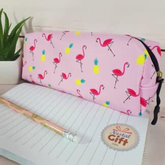Trousse Flamant rose fond rose