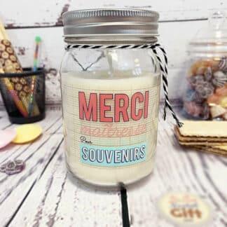 """Bougie Jar - """"Merci maîtresse pour tous ces bons souvenirs"""" - Cadeau Maîtresse (Collection 2019)"""