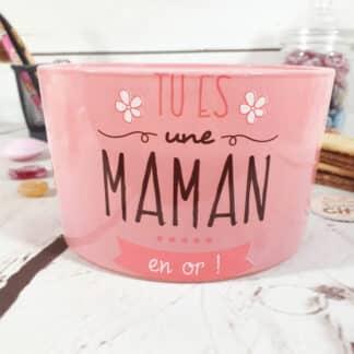 """Bougie à trois mèches """"Tu es une maman en or"""" - cadeau maman"""