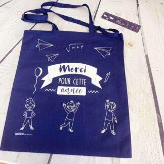 Tote bag maîtresse bleu - Cadeau maîtresse