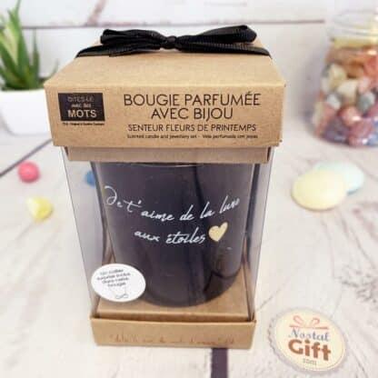 """Bougie + Bijoux surprise """"Je t'aime de la lune aux étoiles"""""""