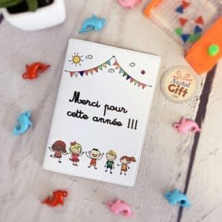 """Porte-Passeport Blanc """"Merci pour cette année !"""" - Cadeau Maitresse"""
