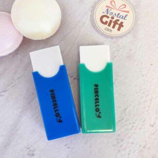 Gommes avec support -  lot de 2 : vert et bleu