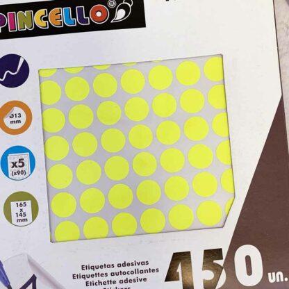 Gommettes jaunes 13 cm rondes - 450 pièces