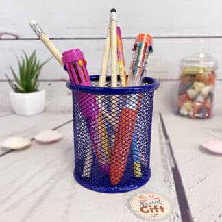 Pot à crayons rond en métal bleu