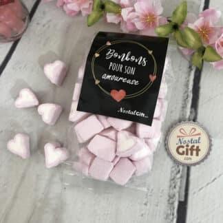 """Sachet bonbon amoureuse - Coeur en guimauve X40 - """"Pour son Amoureuse"""" Idee cadeau pour sa femme"""