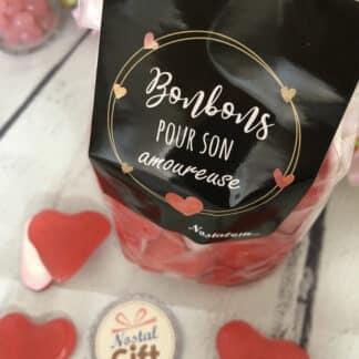 """Sachet bonbon amoureuse - Bonbon coeur à la cerises rouge et blanc x40 - """"Pour son Amoureuse"""" Idee cadeau pour sa femme"""