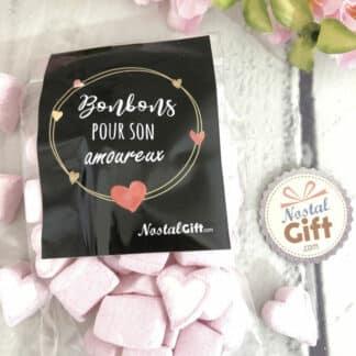 """Sachet bonbon amoureux - Bonbon coeur guimauve x40 - """"Pour son Amoureux"""" - Idée cadeau mari"""