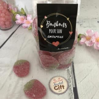 """Sachet bonbons amoureux - Bonbon fraises géantes acidulées x40 - """"Pour son Amoureux"""" - Idée cadeau mari"""