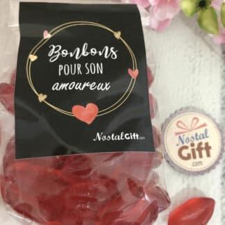 """Sachet bonbon amoureux - Bonbon mini lèvre rouge x60 - """"Pour son Amoureux"""" - Idée cadeau mari"""