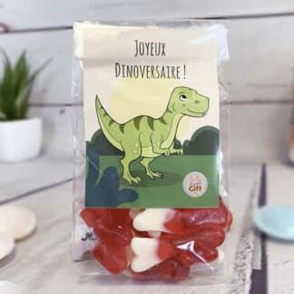 "Sachet bonbons Dinosaure - 20 bonbons os - anniversaire enfant  - ""Joyeux Dinoversaire"""