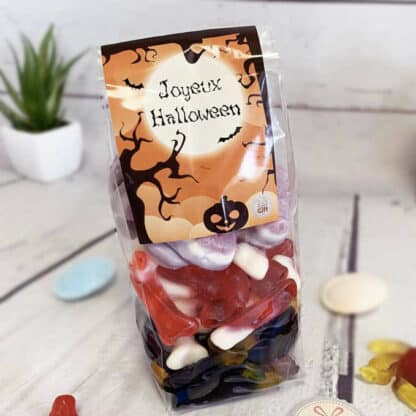 Sachet de Bonbons gélifiés Halloween :  10 crânes, 10 pieuvres et 20 os (400g)- Joyeux Halloween
