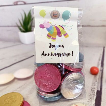 Pièces en chocolat Licorne x20 - Joyeux Anniversaire