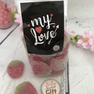 Sachet de bonbons amour - Fraise géante acidulée x40 - My Love