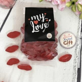 Sachet de bonbon amour - Mini lèvre rouge x60 - My Love