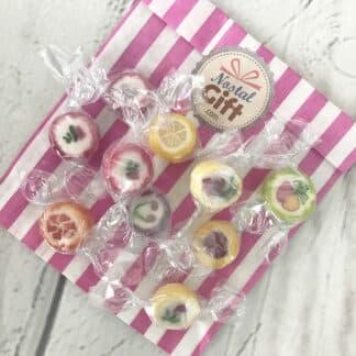 Bonbon rock décorées de fruits ou de fleurs x 20